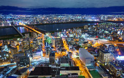 Flyg- sikt av Osaka skyskrapor, Osaka, Japan Royaltyfria Bilder