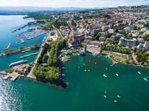Flyg- sikt av Ouchy strand i Lausanne, Schweiz Arkivbilder