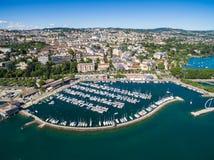 Flyg- sikt av Ouchy strand i Lausanne, Schweiz Fotografering för Bildbyråer