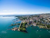 Flyg- sikt av Ouchy strand i Lausanne, Schweiz Royaltyfria Foton