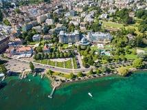 Flyg- sikt av Ouchy strand i Lausanne, Schweiz Arkivfoto