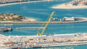 Flyg- sikt av Palm Jumeirah ötimelapse stock video
