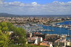 Flyg- sikt av Palma de Mallorca i Majorca, Balearic Island, Spanien arkivfoton