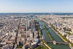 Flyg- sikt av Paris Cityscape och Seine River Arkivfoton