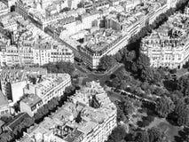 Flyg- sikt av Paris gator från Eiffeltorn Royaltyfria Foton