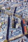 Flyg- sikt av Paris gator från Eiffeltorn Royaltyfri Foto