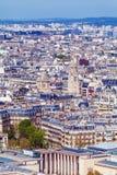 Flyg- sikt av Paris gator från Eiffeltorn Arkivbild