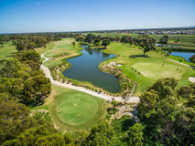 Flyg- sikt av Patterson River Golf Club, Melbourne, Australien arkivbilder