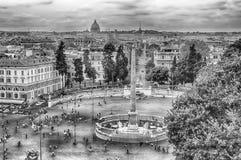 Flyg- sikt av Piazza del Popolo, Rome Royaltyfri Fotografi