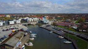Flyg- sikt av port nära Malmo, Sverige arkivfilmer