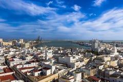 Flyg- sikt av porten av Cadiz royaltyfria bilder