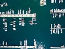 Flyg- sikt av Porto Montenegro Tivat stad Arkivfoton