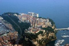 Flyg- sikt av prinsens slott, Monaco Royaltyfria Bilder