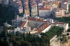 Flyg- sikt av prinsens slott (Palais du Prins) i Monaco Arkivbilder