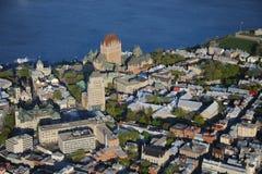 Flyg- sikt av Quebec City Arkivbilder