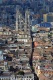 Flyg- sikt av Quito, Ecuador Arkivfoto
