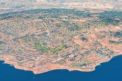 Flyg- sikt av Rancho Palos Verdes, LA Arkivbild