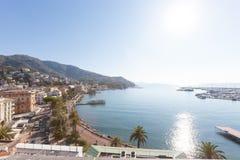 Flyg- sikt av Rapallo i Italien Fotografering för Bildbyråer