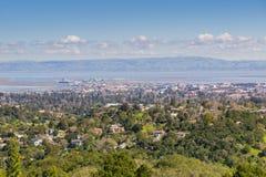 Flyg- sikt av Redwood City, Silicon Valley, San Francisco Bay, Kalifornien royaltyfria foton