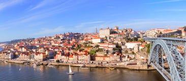 Flyg- sikt av Ribeira, Oporto, Portugal Royaltyfria Bilder
