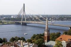 Flyg- sikt av Riga latvia Arkivfoto
