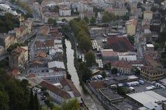 Flyg- sikt av Rijeka, Kroatien Royaltyfria Bilder