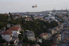 Flyg- sikt av Rijeka, Kroatien Arkivfoto
