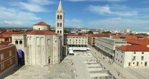 Flyg- sikt av Roman Forum i Zadar i Kroatien arkivfilmer