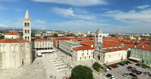 Flyg- sikt av Roman Forum i Zadar i Kroatien lager videofilmer