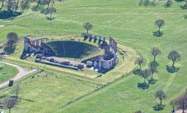 Flyg- sikt av Roman Theatre av staden av Gubbio, Umbria, Royaltyfri Bild