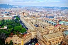 Flyg- sikt av Rome, Italien tak Arkivfoto