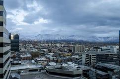 Flyg- sikt av Salt Lake City förorter royaltyfria foton