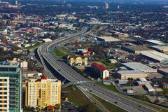 Flyg- sikt av San Antonio motorvägar Royaltyfri Fotografi