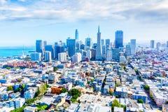 Flyg- sikt av San Francisco Downtown Skyline Royaltyfria Bilder