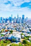 Flyg- sikt av San Francisco Downtown Skyline och finansiella Dist Arkivfoton