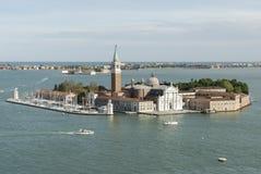 Flyg- sikt av San Giorgio Maggiore Island i Venedig, Italien arkivbild