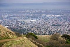 Flyg- sikt av San Jose, Kalifornien arkivbilder