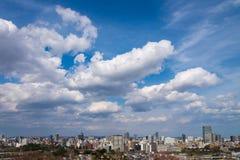 Flyg- sikt av Sendai Cityscape, horisont, högt löneförhöjningkontorsbyggande royaltyfri foto