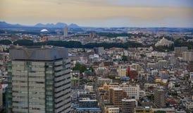 Flyg- sikt av Sendai, Japan royaltyfri fotografi
