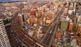 Flyg- sikt av Sendai, Japan royaltyfria foton
