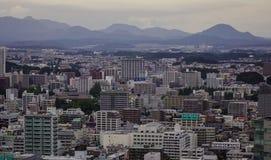 Flyg- sikt av Sendai, Japan arkivfoton