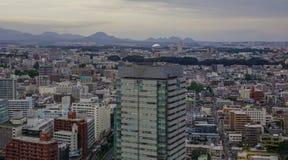 Flyg- sikt av Sendai, Japan royaltyfri bild