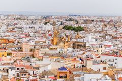 Flyg- sikt av Seville den gamla staden royaltyfri fotografi