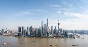 Flyg- sikt av shanghai lujiazuipanorama Royaltyfria Foton