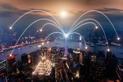 Flyg- sikt av shanghai på det Lujiazui finans- och affärsområdet Arkivfoto
