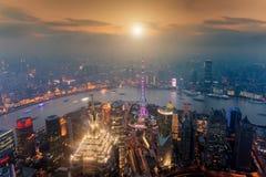 Flyg- sikt av shanghai på det Lujiazui finansområdet, Kina Arkivfoton