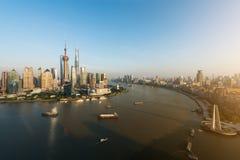 Flyg- sikt av shanghai, shanghai lujiazuifinans och affären Arkivbild