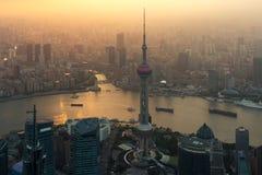 Flyg- sikt av shanghai, shanghai lujiazuifinans och affären Arkivfoto