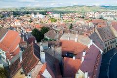 Flyg- sikt av Sibiu Arkivbild