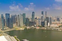 Flyg- sikt av Singapore arkivbild